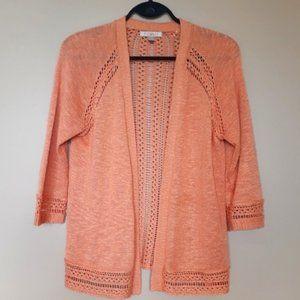 Roz & Ali Medium Orange Crochet Cardigan Sweater